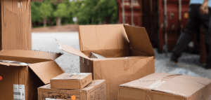 Boxes from Bed Bath and Beyond move in