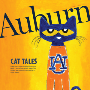 Auburn Magazine Winter 2019 cover Featuring Pete the Cat