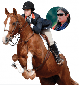 Jessica Braswell as a student equestrian and as a coach