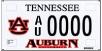 Tennessee Auburn License Plate