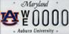 Maryland Auburn Car Tag