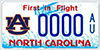 North Carolina Auburn Car Tag