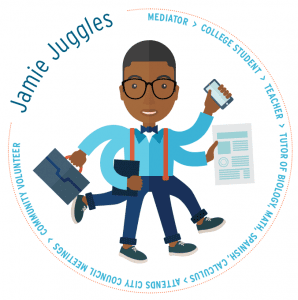 Jamie Juggles mediator > college student > teacher > tutor of biology, math, Spanish, calculus > Attends City Council meetings > community volunteer