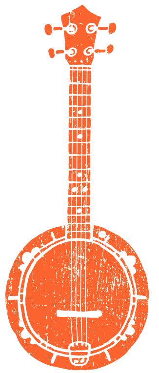 orange banjo illustration