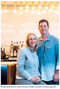 Kim and Brian in front of the Bar at Wittel, the hotel's art-deco lobby bar.
