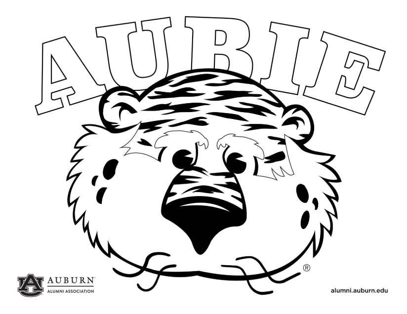 Aubie Coloring page graphic