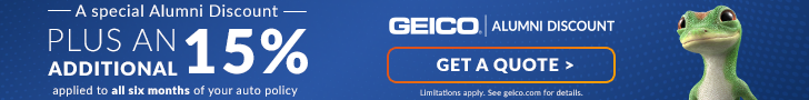 As Auburn Alumni Association members, you could be already eligible for a special discount on GEICO car insurance. But now through October 7th , GEICO is proud to combine the GEICO Giveback – a 15% credit for both current and new customers, and in addition to your special discount. Get a quote today.
