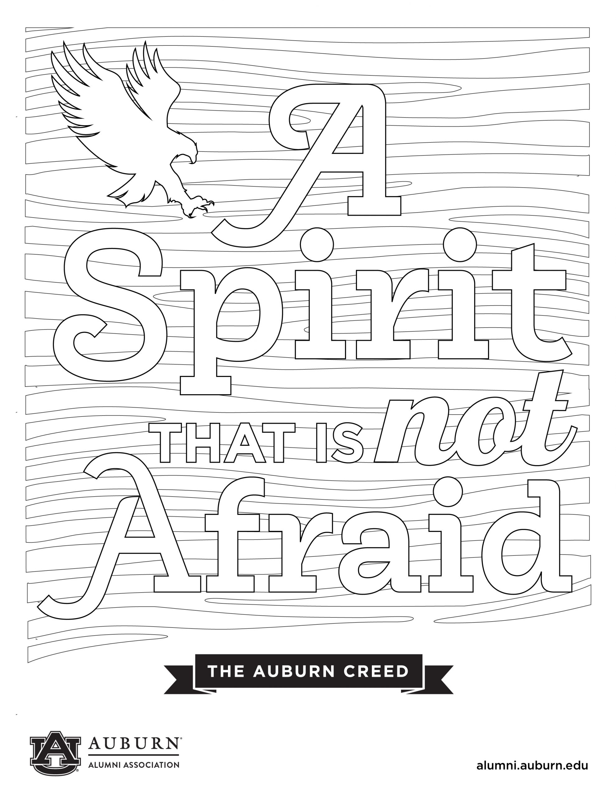 A Spirit is not afraid coloring sheet