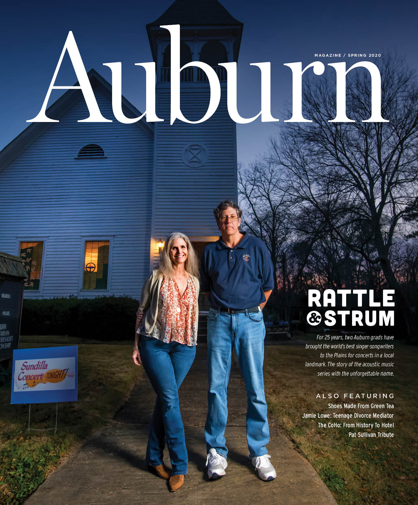 Auburn Magazine Spring 2020 feature Rattle and Strum For 25 years, two Auburn grads have brought the world's best singer-songwriters to the Plains for concerts in a local landmark. The story of the acoustic music series with the unforgettable name. Also featuring Shoes Made From Green Tea, Jamie Lowe: Teenage Divorce Mediator, The CoHo: From History To Hotel and Pat Sullivan Tribute