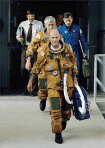 Astronauts Ken Mattingly (front) and Hank Hartsfield on their way to Launch Pad 39A on May 29, 1982 for a rehearsal of their liftoff.