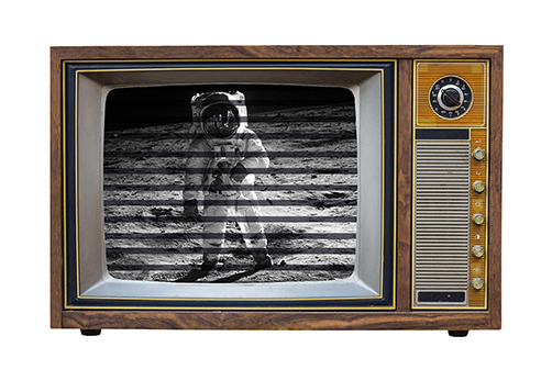 Vintage TV with Neil Armstrong on screen