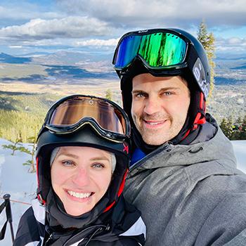 Justin Saia with wife ski trip pic