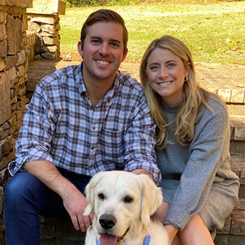 Burgoyne McClendon pose with wife and dog pic