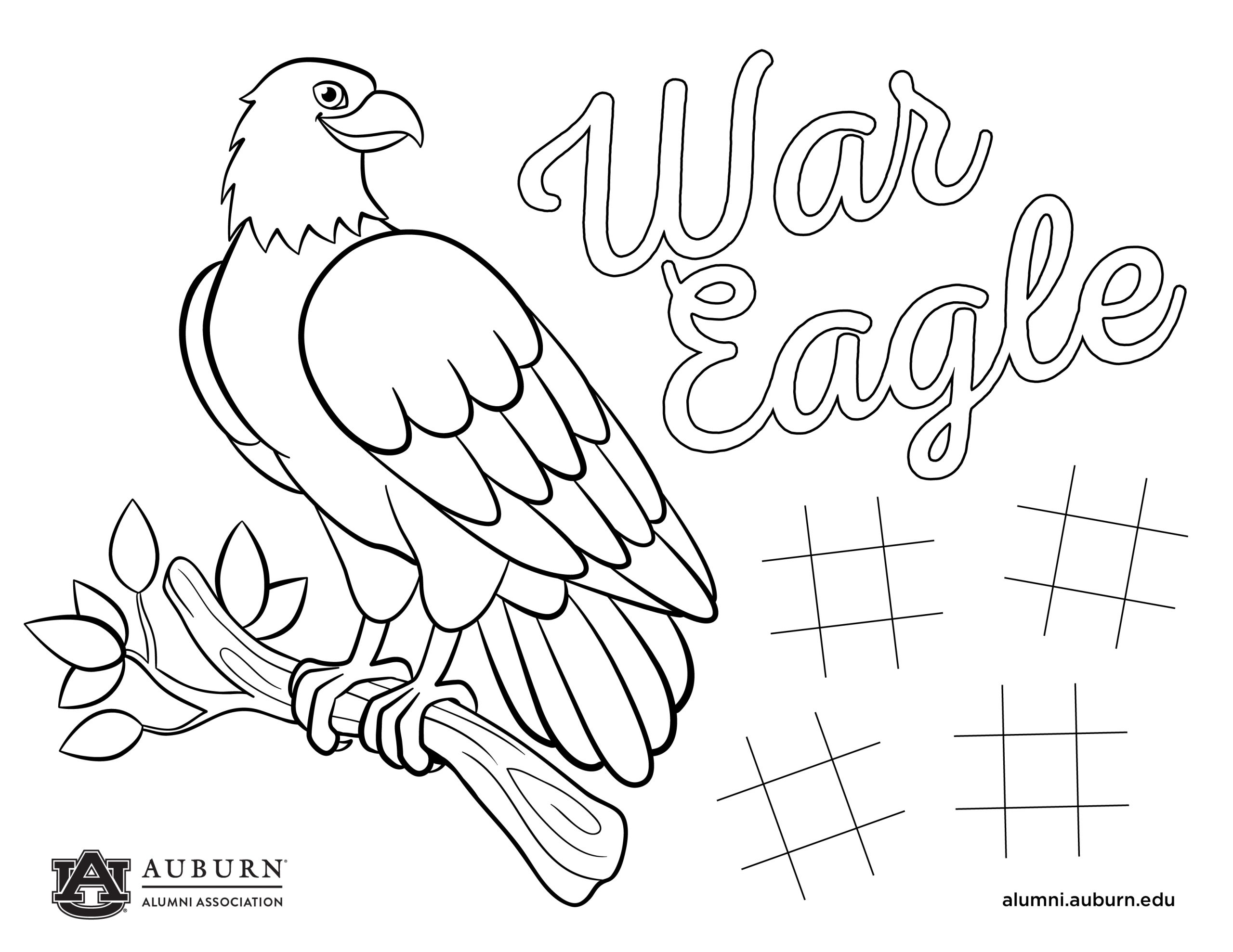 War Eagle Coloring and Activity tic tac toe