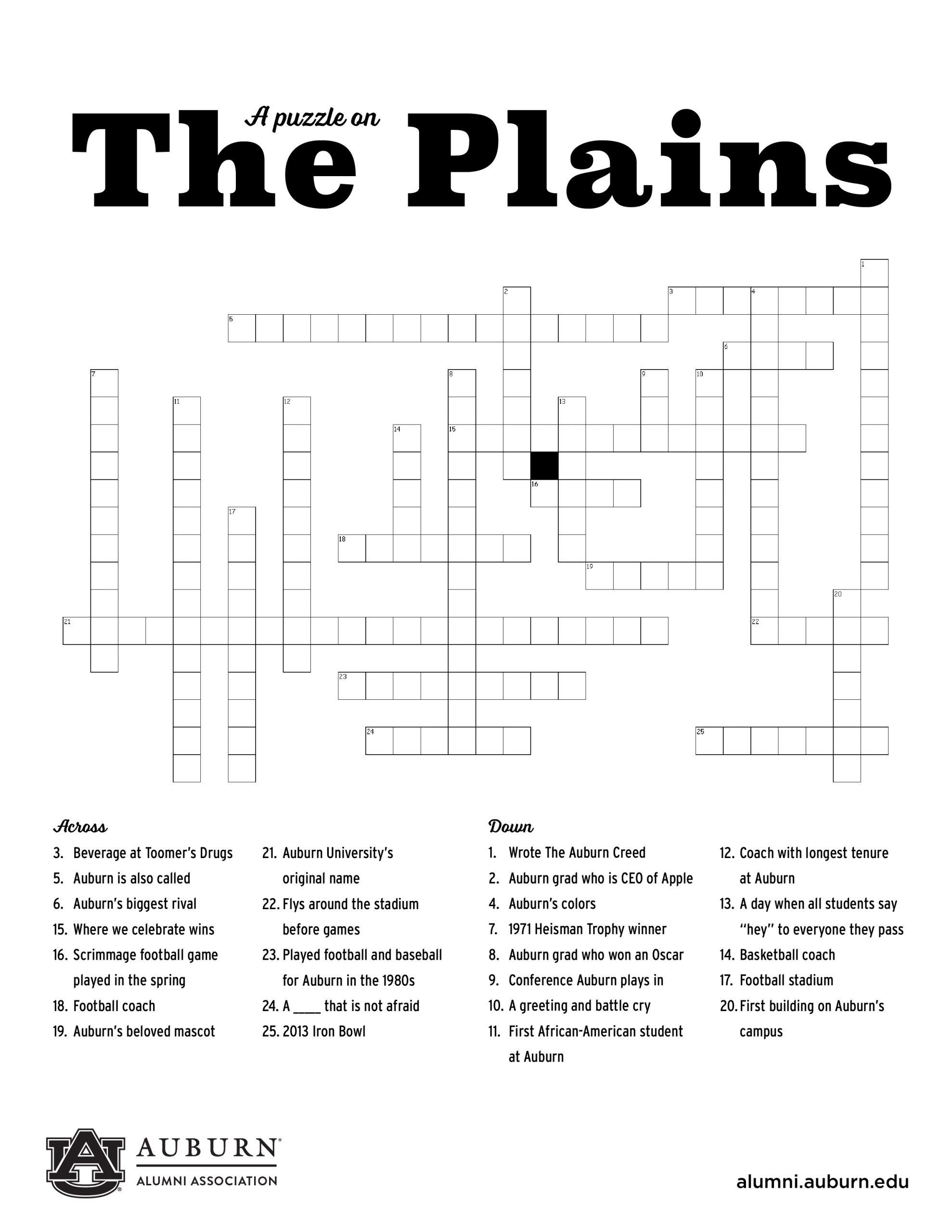 Auburn Crossword Puzzle Fun