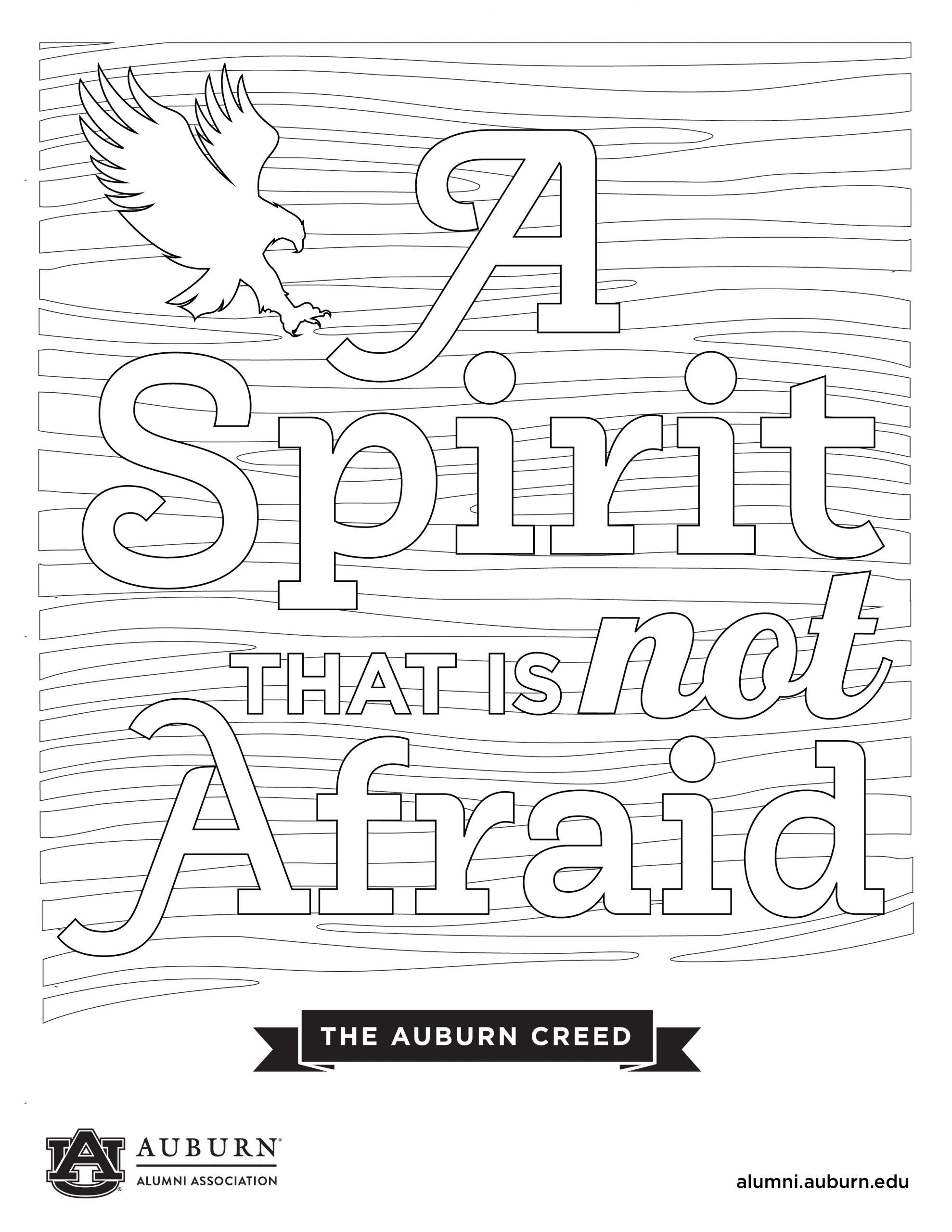 A Spirit is not afraid coloring sheet