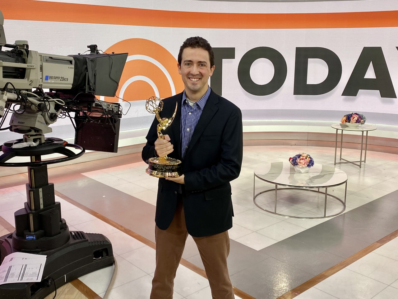 Miller with his Emmy on the TODAY Show set