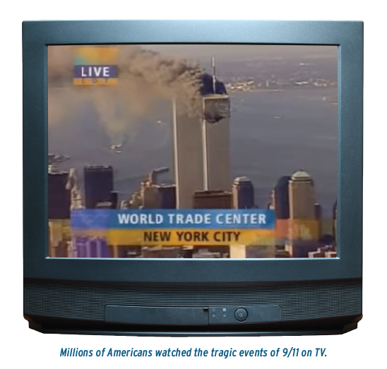 picture of tv with the twin towers being hit
