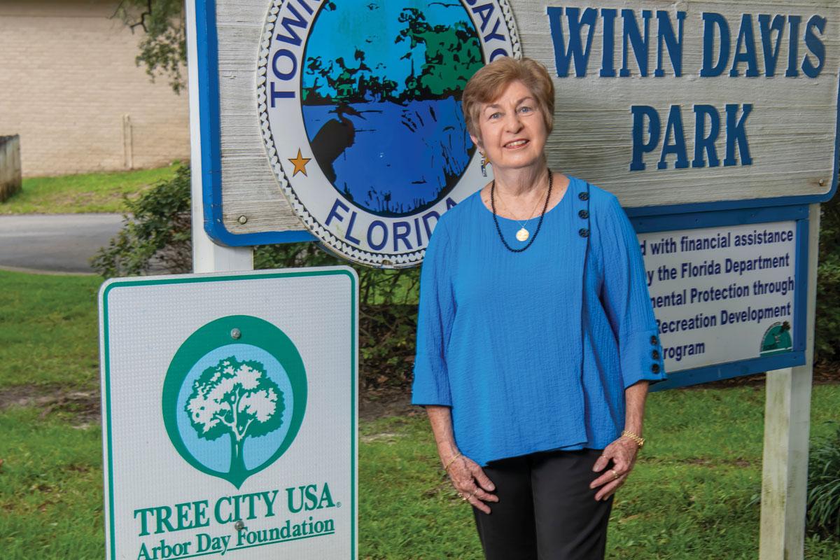 Mayor, Jean Hood Standing in front of Winn Davis Park