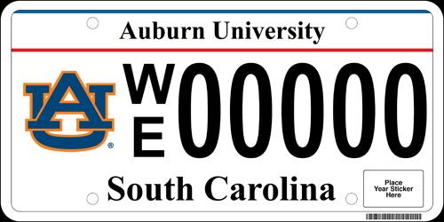 SC AU License Plate