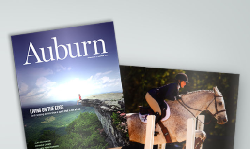 picture of Auburn Magazine and an internal page